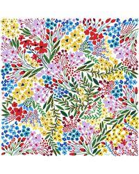 Jessie Zhao New York Silk Scarf Of Blooms - White