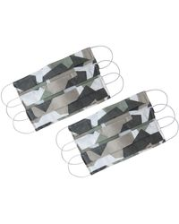 Rumour London Pack Of 6 Protective Cotton Cloth Mask With Integrated Filter With Camouflage Print - Brown