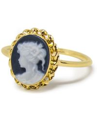 Vintouch Italy Gold-plated Black Mini Cameo Stacking Ring