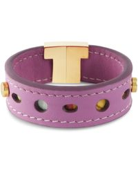 Tissuville Juliett Lilac Leather Bracelet With Textile - Multicolour