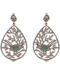 Kastur Jewels Emerald & Diamond Bird Leaf Cocktail Earrings - Metallic