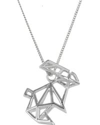 Origami Jewellery - Frame Rabbit Necklace Sterling Silver - Lyst