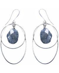 Tiana Jewel Labradorite Circle Earrings Silver - Metallic