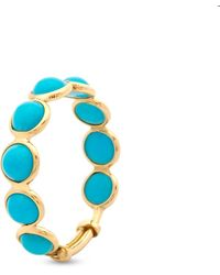 Trésor Turquoise Round Stackable Ring With Adjustable Shank In 18k Yellow Gold - Blue