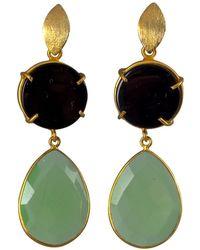 Magpie Rose Black Onyx & Green Chrysoprase Earrings