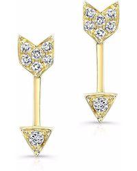 Anne Sisteron Yellow Gold Diamond Mini Arrow Stud Earrings - Metallic