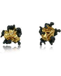 Karolina Bik Jewellery Naphta Earrings Black And Gold