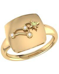 LMJ Leo Lion Constellation Signet Ring In 14 Kt Yellow Gold Vermeil - Metallic
