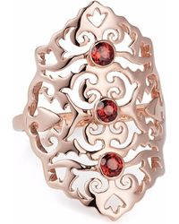 Neola - Jade Rose Gold Cocktail Ring With Red Onyx - Lyst