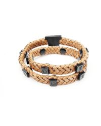Tissuville - Rugged Brown Leather Wrap Tarmac Bracelet With Black Studs - Lyst