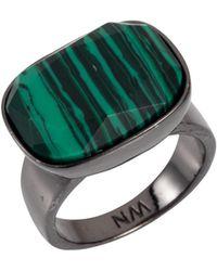 Nadia Minkoff - Semi Precious Horizontal Ring Gunmetal With Malachite - Lyst