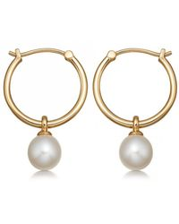 Astley Clarke Vera Pearl Drop Hoop Earrings - Metallic