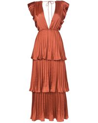 True Decadence Rust Brown Pleated Tiered Midaxi Dress