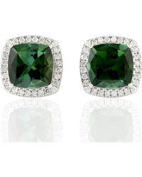 Artisan 18kt Solid White Gold Pave Diamond Green Tourmaline Women Stud Earrings Jewelry