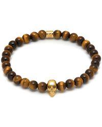 Northskull Yellow Tiger Eye & Gold Atticus Skull Bracelet - Metallic