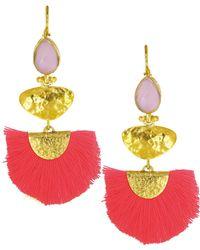 Ottoman Hands - Rose Quartz Stone & Coral Tassel Earrings - Lyst