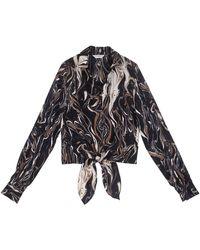 Emin & Paul Black-print Tie-front Blouse