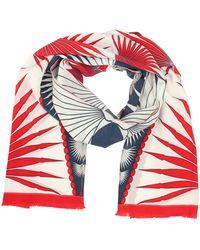 Pink House Mustique Lotty B Silk Long Silk Scarf: Fan Palm - Red