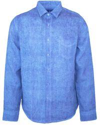 Haris Cotton Long Sleeved Front Pocket Linen Shirt - Blue