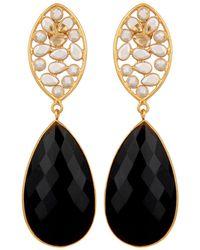 Carousel Jewels - Crystal & Black Onyx Drop Earrings - Lyst