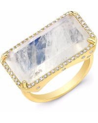Anne Sisteron - Yellow Gold Diamond Base Moonstone Ring - Lyst