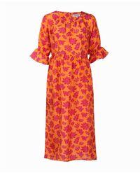 Asneh Natalie Midi Silk Dress In Orange With Pink Purple Print - Multicolour