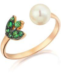 Sadekar Jewellery - Green Garnet & Pearl Flower Ring - Lyst
