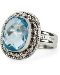 Vintouch Italy Minerva Blue Topaz Ring