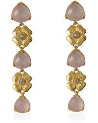 Emma Chapman Jewels - Elara Rose Quartz Labradorite Tierdrop Earrings - Lyst