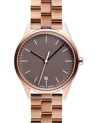 Uniform Wares Women's C36 Date Watch In Pvd Rose Gold With Linked Rose Gold Bracelet With Butterfly Clasp - Metallic
