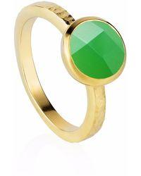 Neola Estella Gold Stacking Ring With Chrysoprase - Metallic
