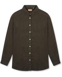 Burrows and Hare Women's Linen Shirt - Green