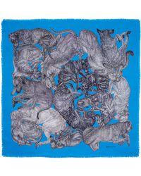 Arlette Ess 'sleeping Dogs' Azure Fringed Silk Twill Scarf - Blue
