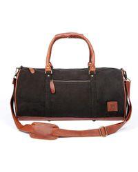 MAHI - Leather Classic Duffle Overnight/gym Bag In Black Canvas - Lyst