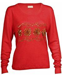 Asneh Sequin & Bead Embellished Krystle Cashmere Jumper In Red