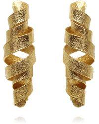 Karolina Bik Jewellery Algae Spiral Long Earrings Gold - Metallic
