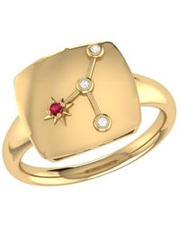 LMJ Cancer Crab Constellation Signet Ring In 14 Kt Yellow Gold Vermeil - Metallic