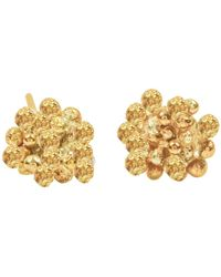 Lily Flo Jewellery Rock Chic Flower Stud Earrings In Solid Gold - Multicolour