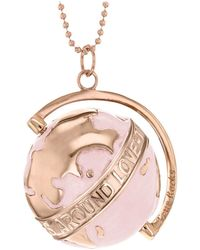 True Rocks - 18kt Rose Gold Plated & Blush Medium Spinning Globe Necklace - Lyst