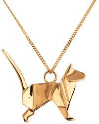 Origami Jewellery Cat Necklace Gold - Metallic