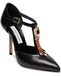 Alexis Isabel Bejeweled Baby Black Leather T-strap High Heels