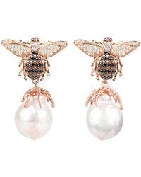 LÁTELITA London Baroque Pearl Honey Bee Drop Earring Rosegold - Multicolour