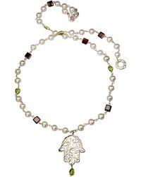 Xanthe Marina - Hand Of Hamsa Pearl & Gemstone Necklace - Lyst