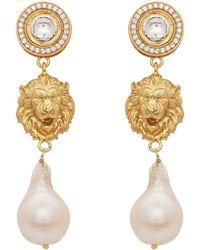 Carousel Jewels Crystal And Pearl Lion Earrings - Metallic