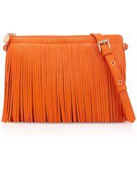 London Velvet Siena Orange Fringe Clutch
