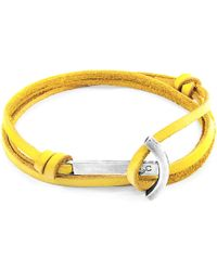 Anchor & Crew Mustard Yellow Clipper Anchor Silver & Flat Leather Bracelet - Multicolour