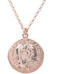 LÁTELITA London Matte Roman Coin Pendant Necklace Rosegold - Metallic