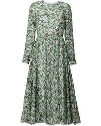 MATSOUR'I Midi Silk Dress Michelle - Green