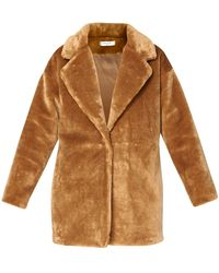 Paisie Oversized Soft Teddy Coat - Brown