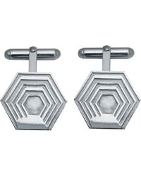 Edge Only Hexagon Cufflinks In Silver - Metallic